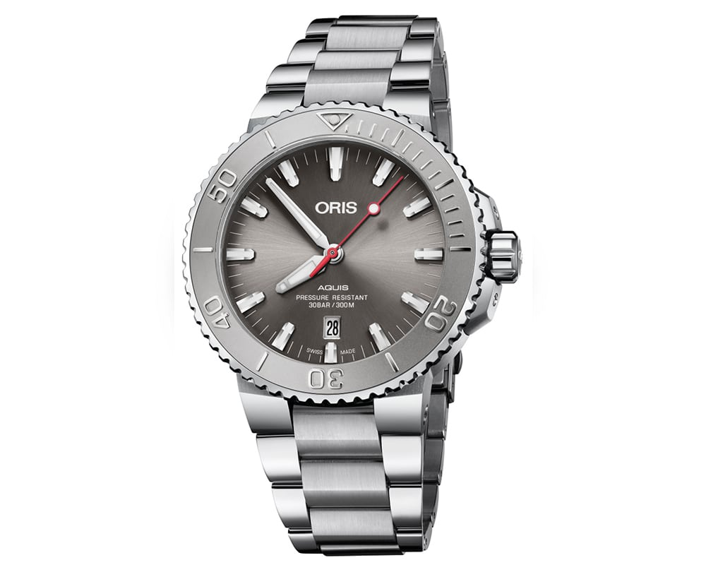 Stainless Steel Gray Sunray Index Dial Oris Aquis Relief Date