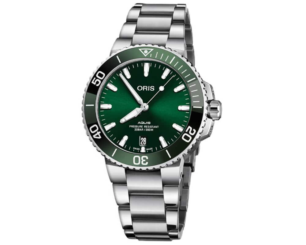 Stainless Steel Green Index Dial Aquis Date