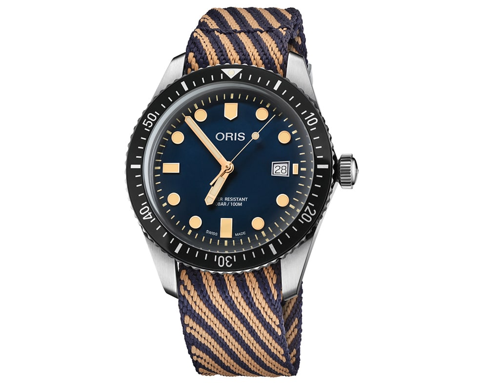 STAINLESS STEEL BLUE DIAL DIVER MEN`S WATCH WITH SUSTAINABLY PRODUCED STRAP 65 01 733 7720 4035-07 5 21 13