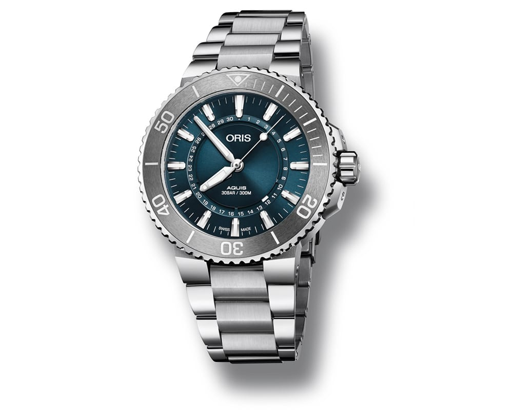"STAINLESS STEEL BLUE SUNRAY DIAL AQUIS ""SOURCE OF LIFE"" LIMITED EDITION MEN`S WATCH 01 733 7730 4125-SET MB"