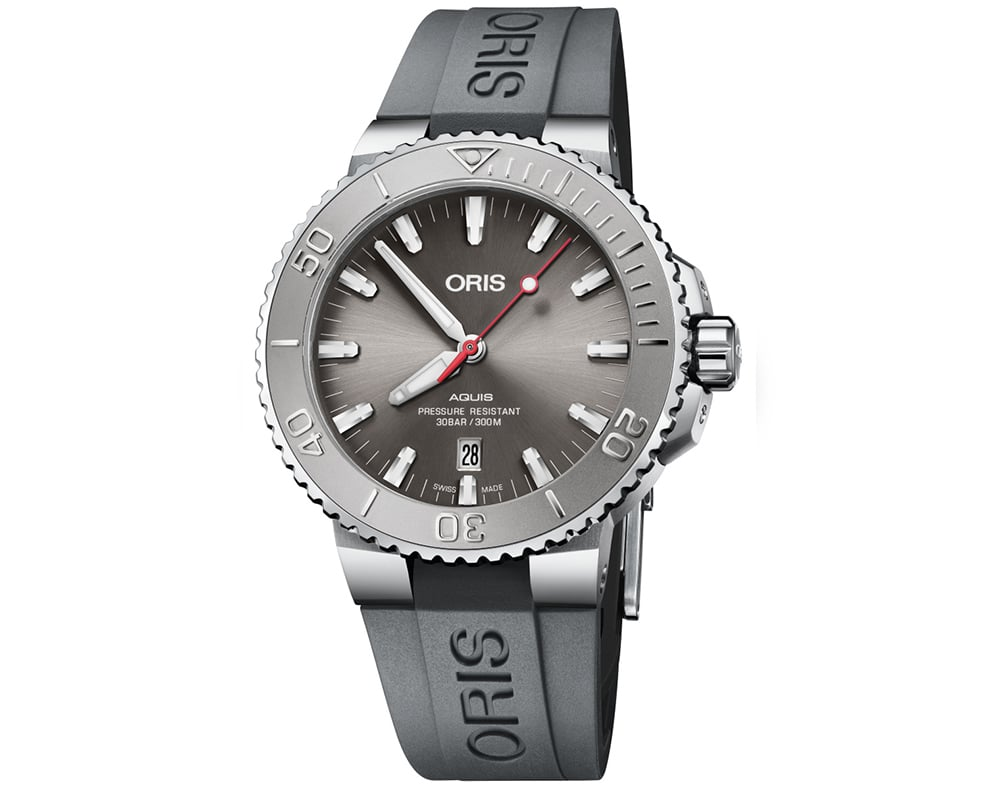 Stainless Steel Gray Sunray Index Dial Aquis Date