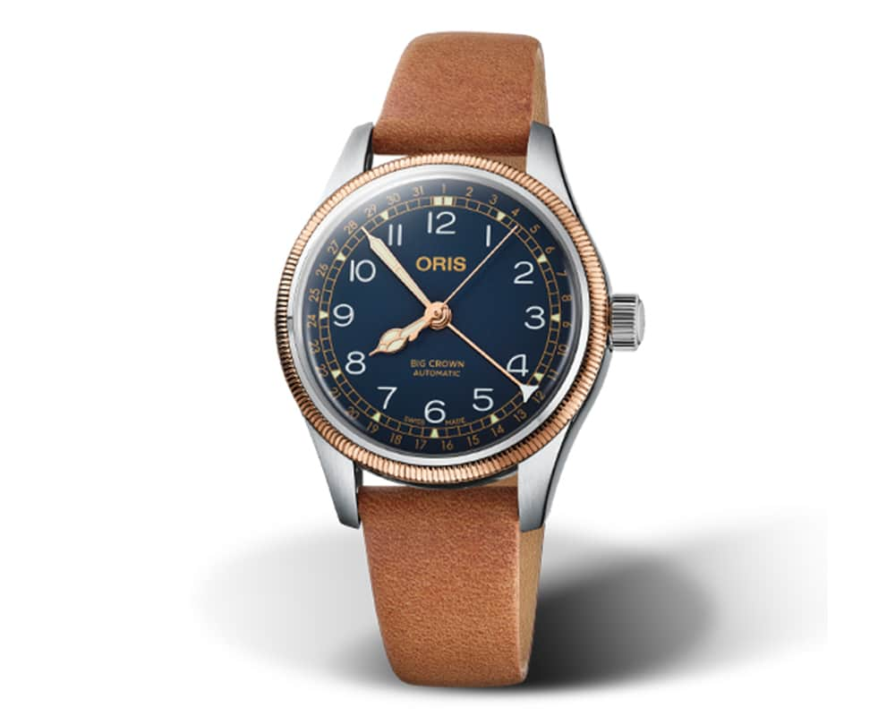 ORIS BIG CROWN POINTER DATE WITH BRONZE CASE AND BLUE DIAL AVIATION WATCH 01 754 7749 4365-07 5 17 66