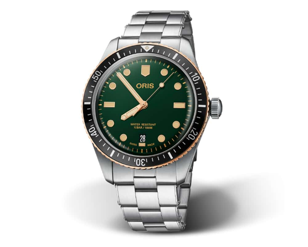 Stainless Steel/Bronze Green Index Dial Diver 65