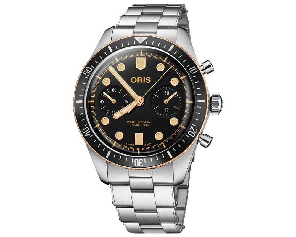Oris Diver 65 Chronograph Watch With Stainless Steel And Bronze Case And Band 01 771 7744 4354-07 8 21 18