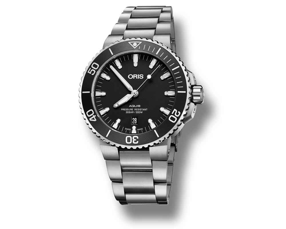 Stainless Steel Matte Black Index Dial Oris Aquis Date