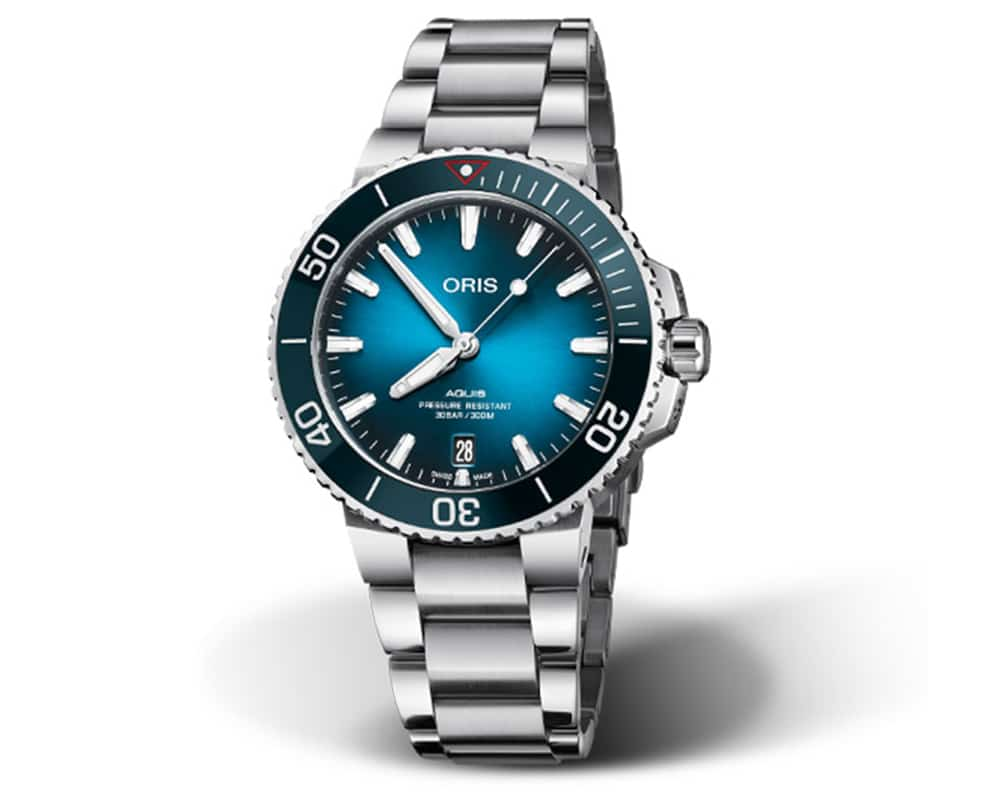 Stainless Steel Blue Index Dial Aquis