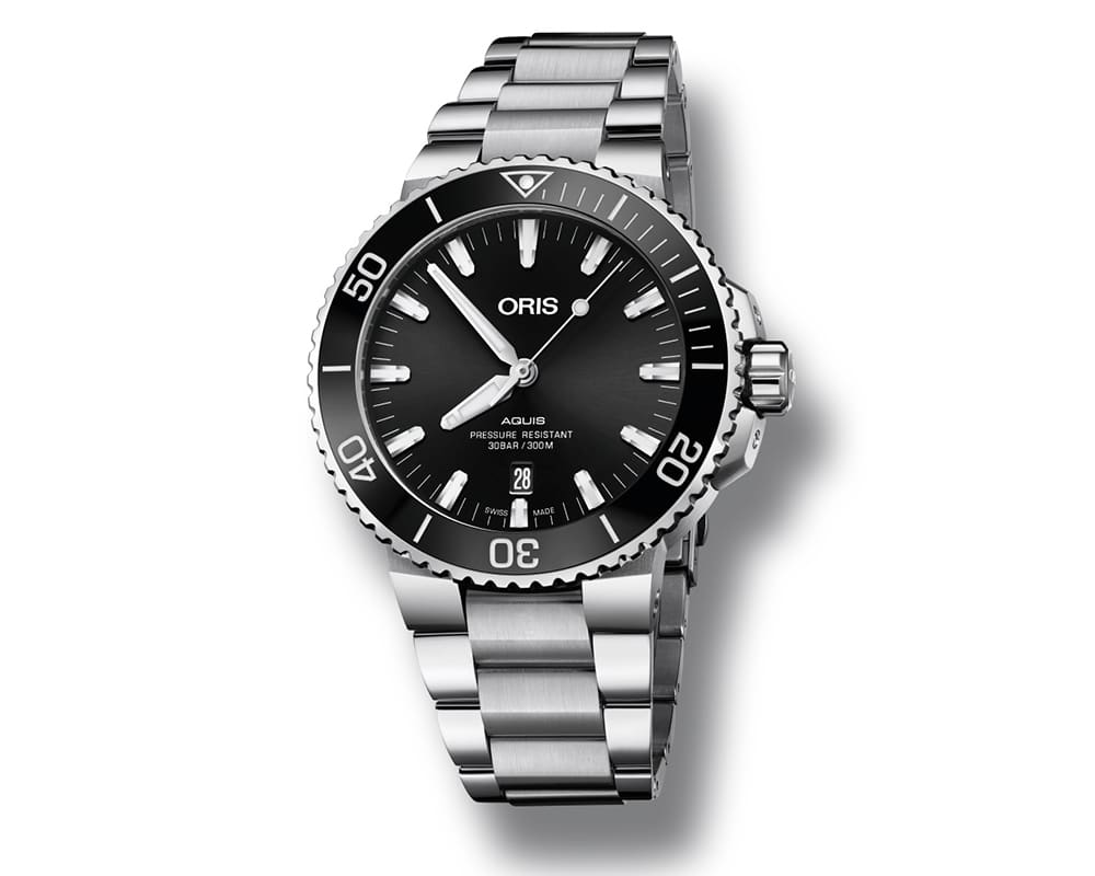 Stainless Steel Black Index Dial Oris Aquis Date