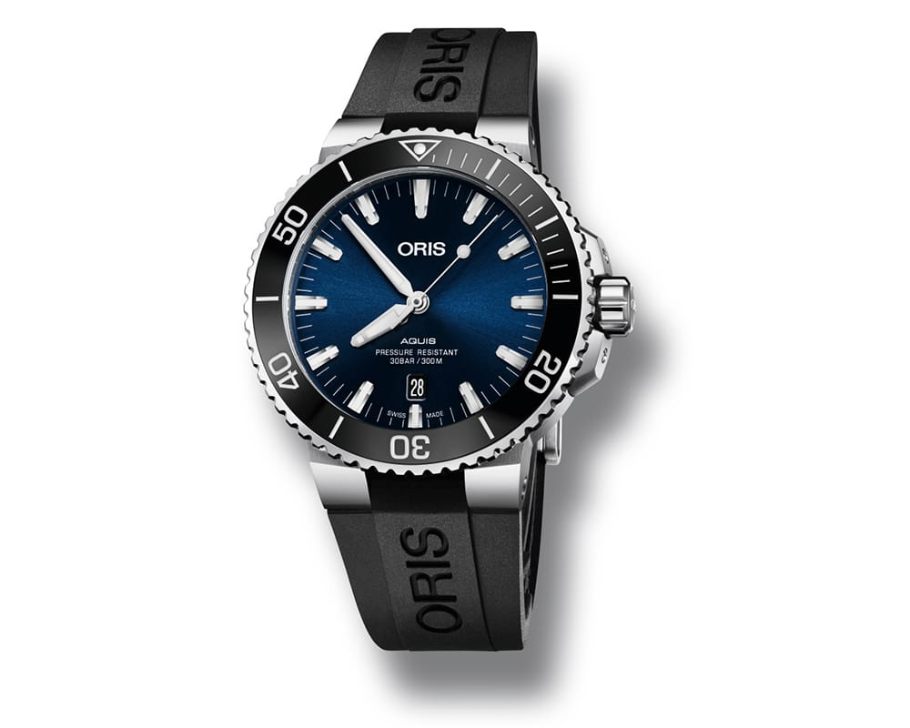 STAINLESS STEEL DARK BLUE DIAL ORIS AQUAIS MEN`S WATCH 01 733 7730 4135-07 4 24 64EB