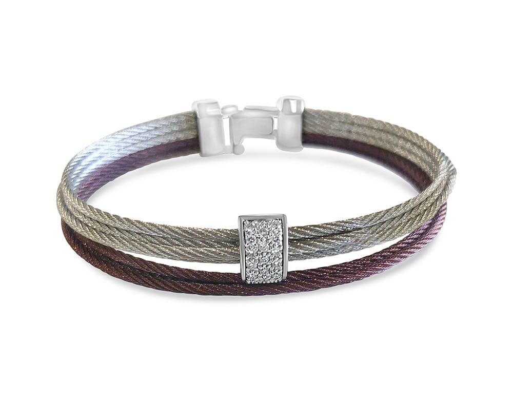 Burgundy/Silver 18kt and Stainless Multi-row Bracelet with Diamonds by ALOR