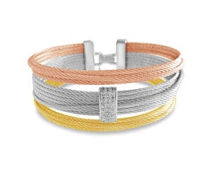 Tri-color Stainless Steel Cable and 18kt White Gold Fashion Bangle with Diamonds by ALOR