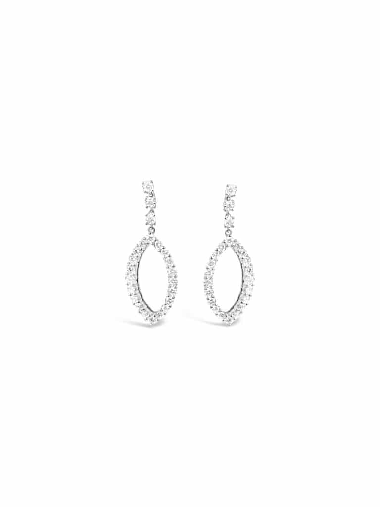 14kt White Gold Diamond Dangle Fashion Earrings