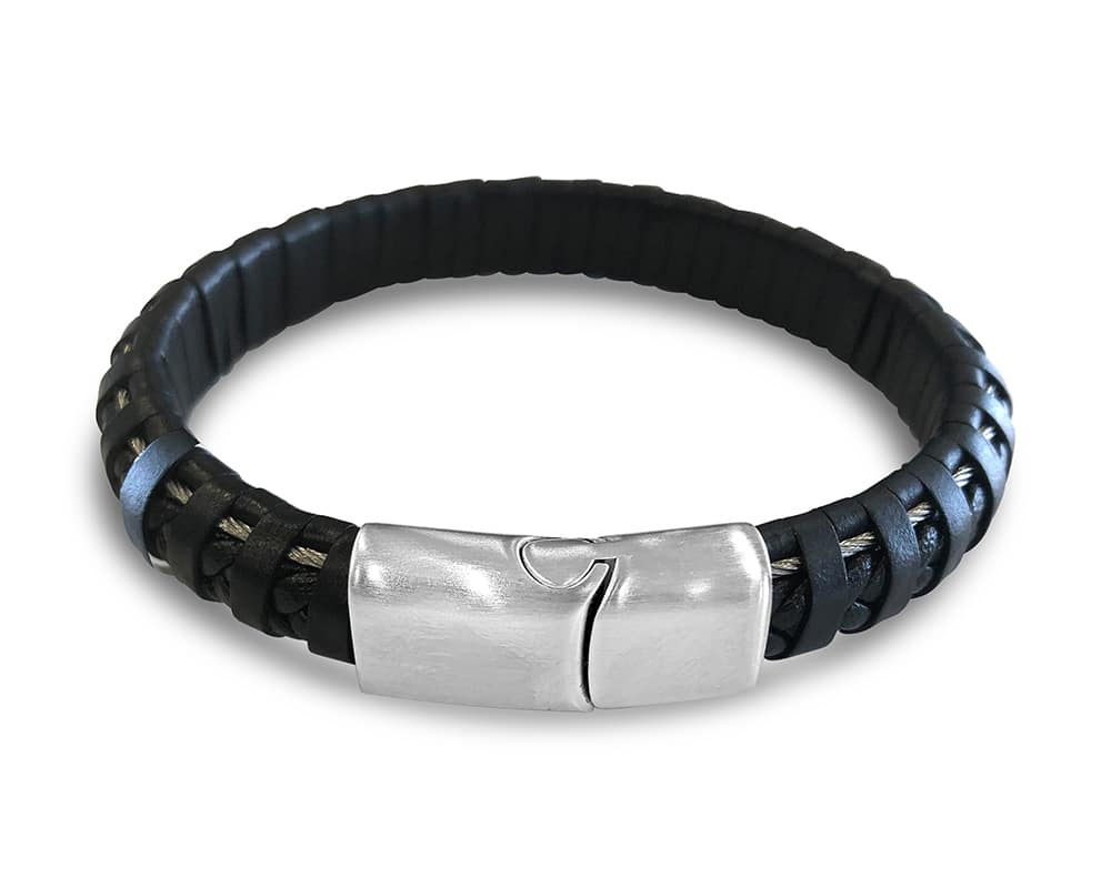 Gents Stainless Steel Cable and Black Leather Bracelet by ALOR