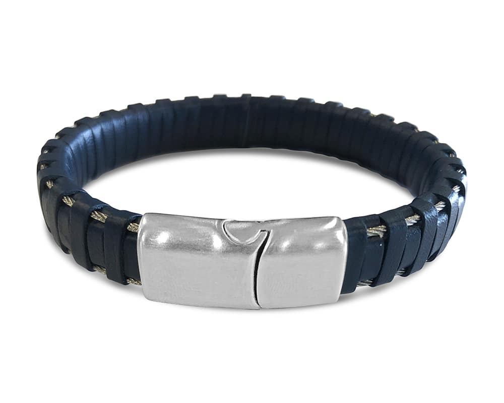 Gents Stainless Steel and Blue Leather Bracelet by ALOR