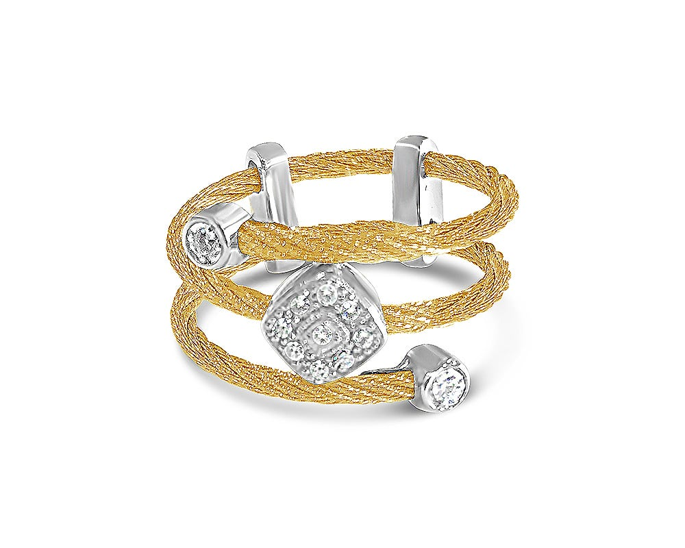 Yellow Stainless Steel & 18kt White Gold Fashion Ring with Diamonds by ALOR