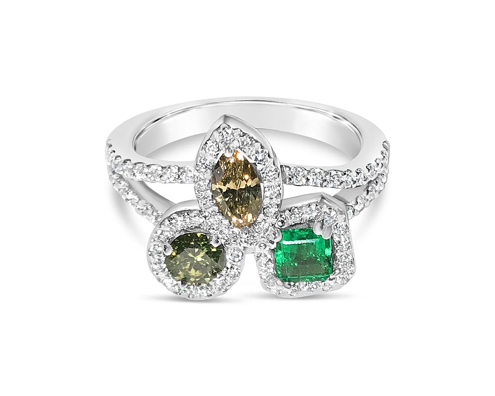 14kt White Gold Diamond and Emerald Halo Fashion Ring