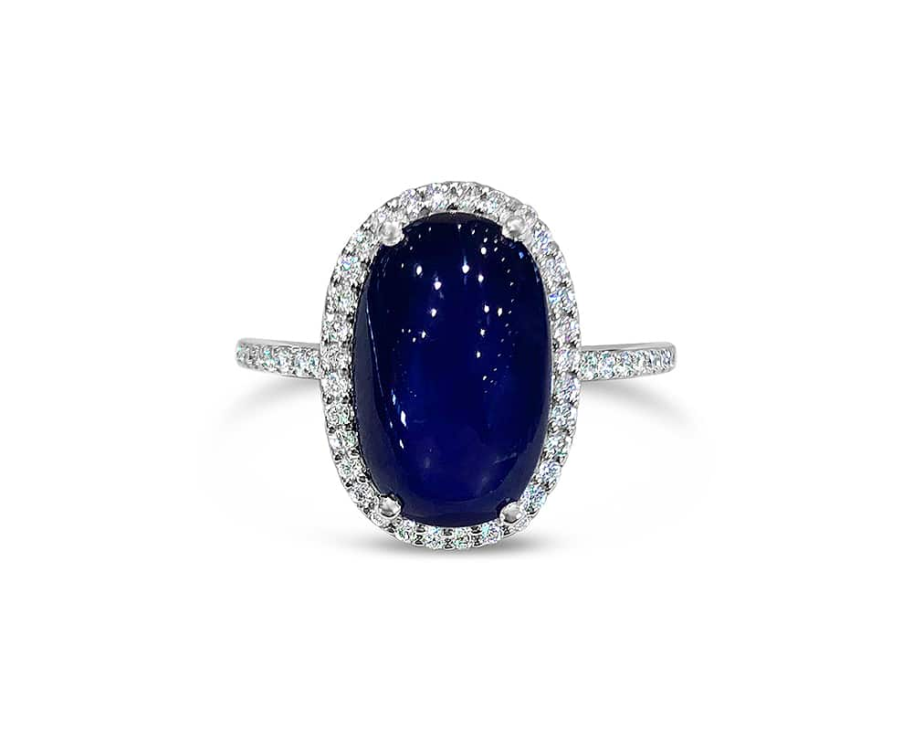 18kt White Gold Oval Halo Fashion Ring with Blue Star Sapphire