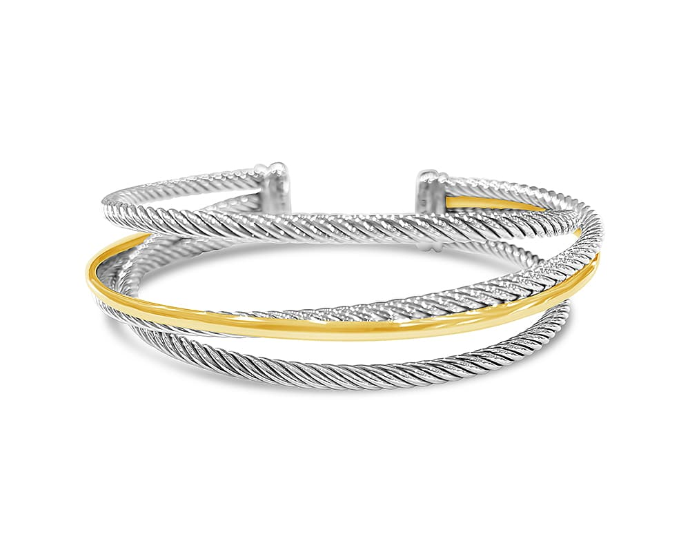 Sterling Silver & 18kt Yellow Gold Crossover Three Row Cuff