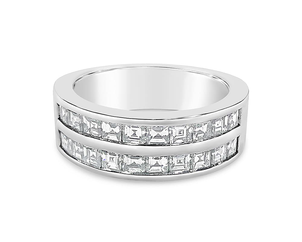 14kt White Gold Double Row Diamond Wedding Band