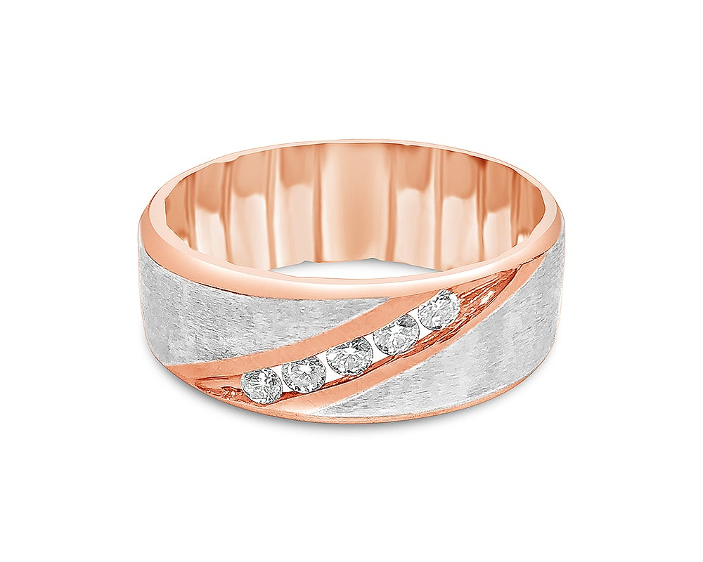 14kt Rose and White Gold Stain M Fit Wedding Band