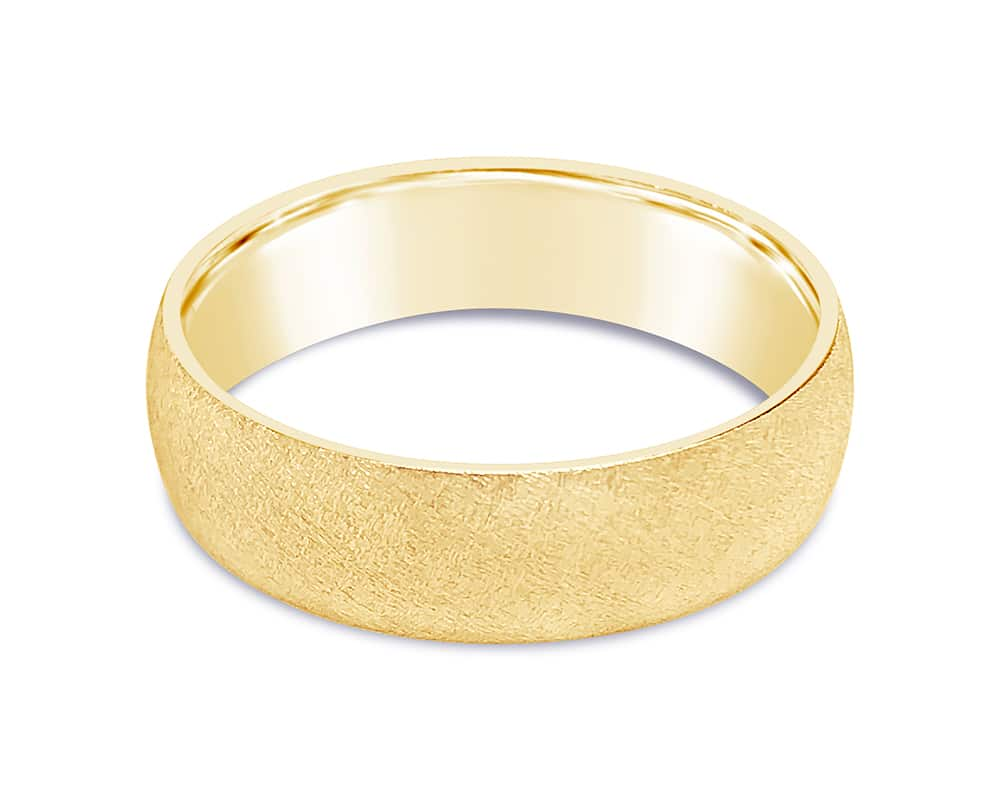 14kt Yellow Gold Florentine 6mm Light Half Round Comfort Fit Wedding Band