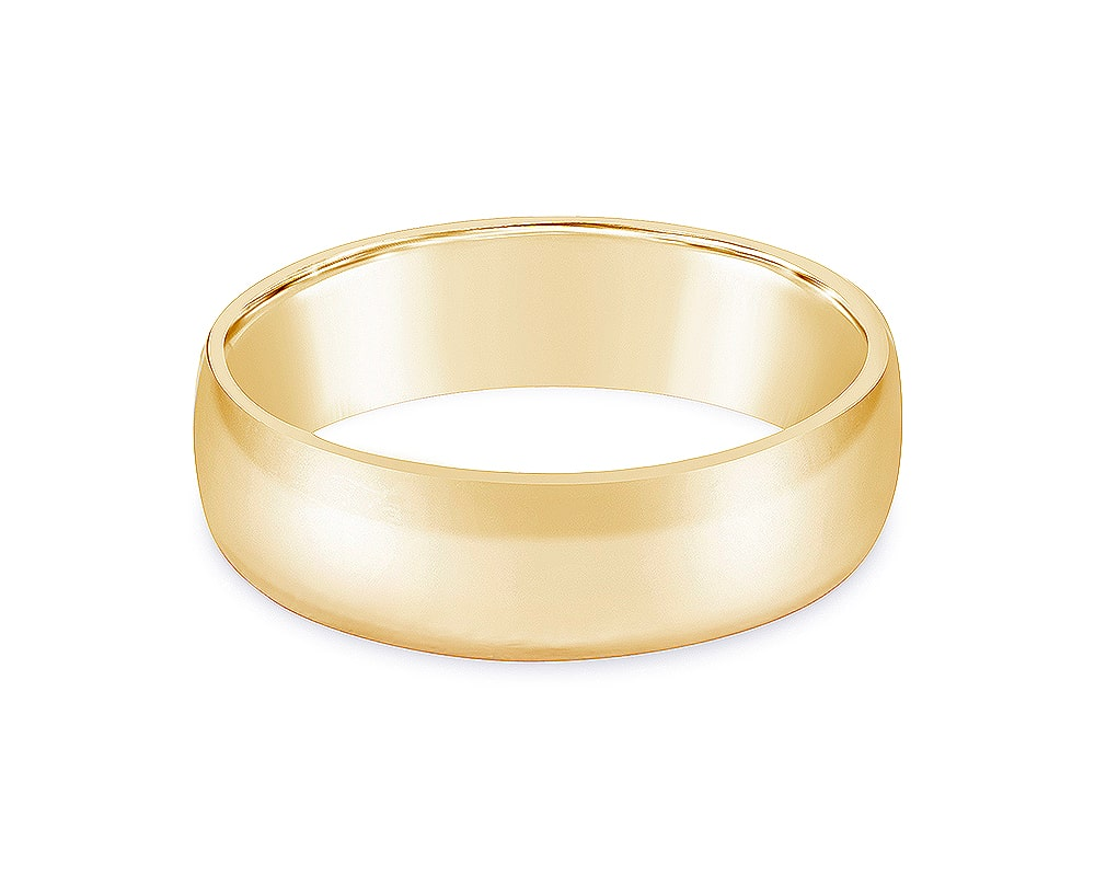 14kt Yellow Gold 6mm Light Half Round Comfort Fit Wedding Band