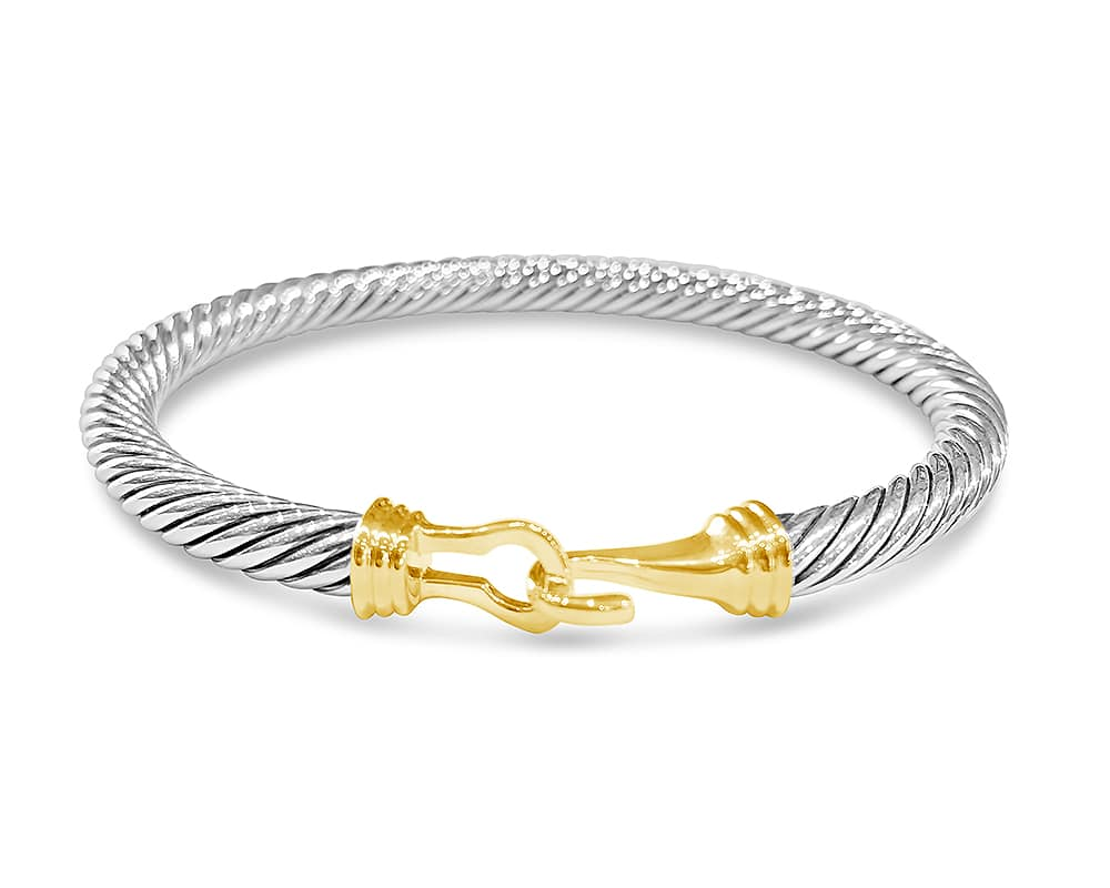 Sterling Silver & 18kt Yellow Gold 5mm Cable Buckle Bracelet