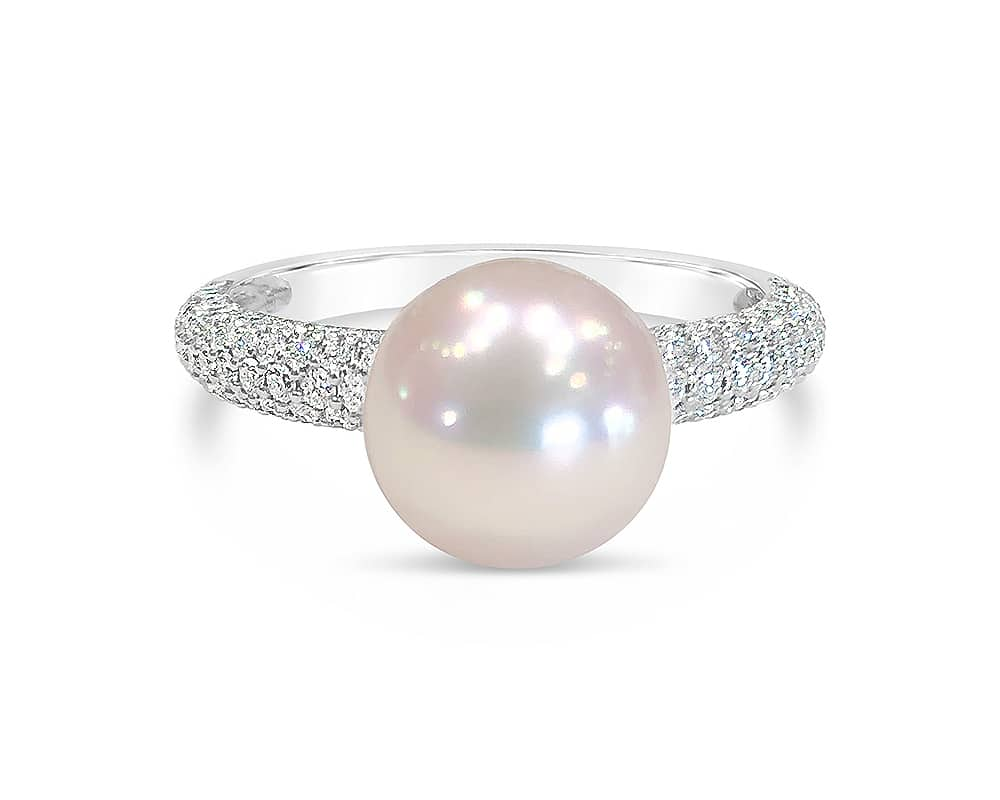 18kt White Gold Akoya Pearl and Diamond Fashion Ring