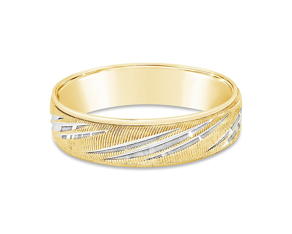 14kt Two-Tone Engraved 6mm Wedding Band