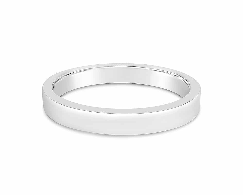18kt White Gold 3mm Flat Comfort Fit Wedding Band