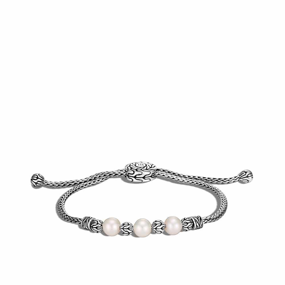 Classic Chain Pull Through Bracelet in Silver with Pearl by John Hardy