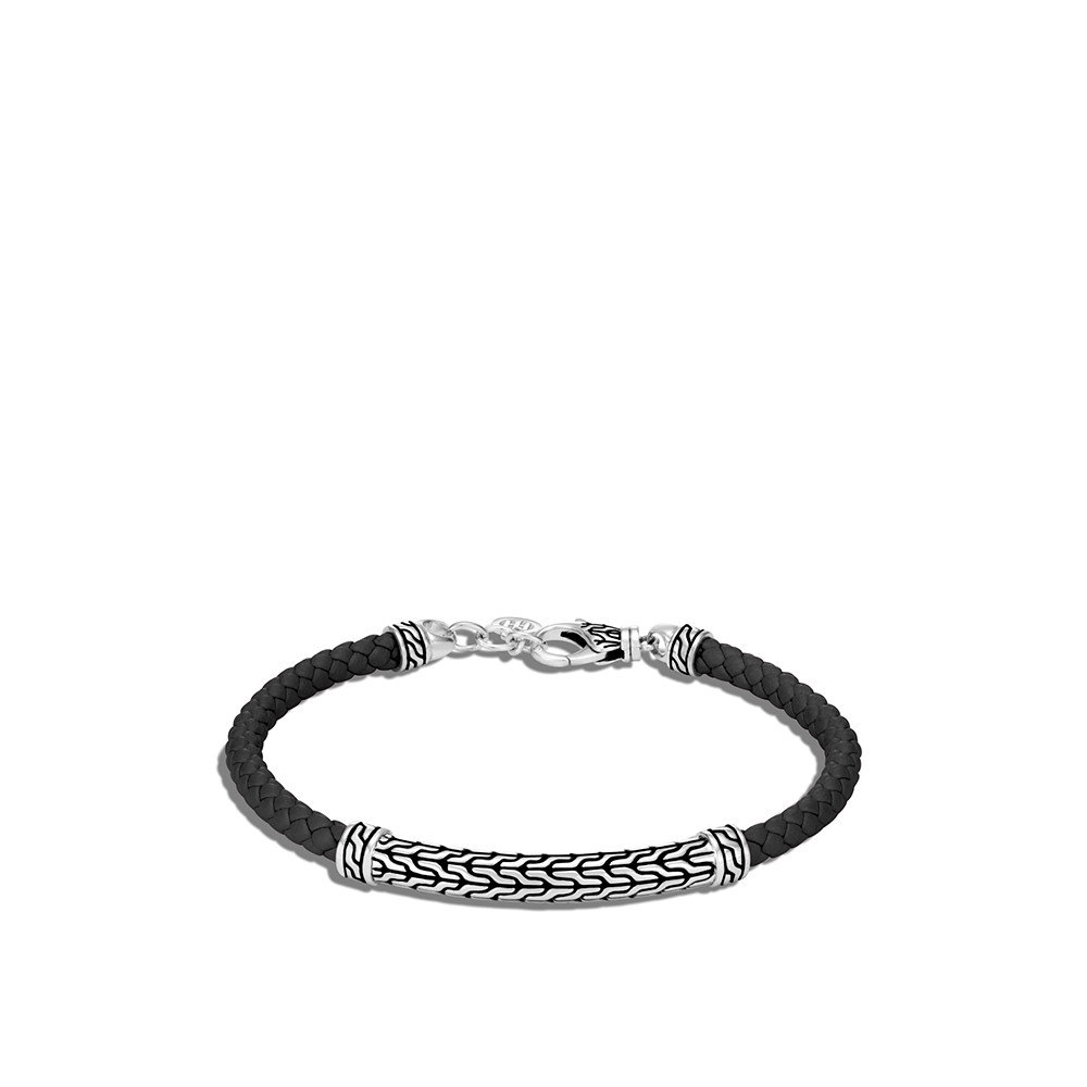 Classic Chain Station Bracelet in Silver with Leather by John Hardy