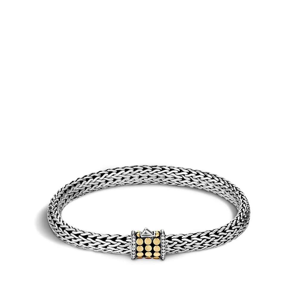 Dot 6.5MM Bracelet in Silver and 18K Gold by John Hardy