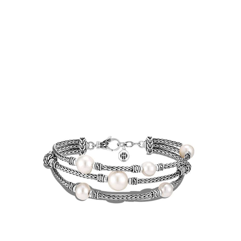 Classic Chain Triple Row Bracelet Freshwater Pearl
