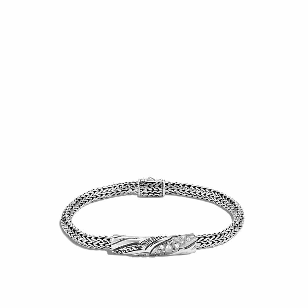 Lahar 5MM Station Bracelet in Silver with Diamonds by John Hardy