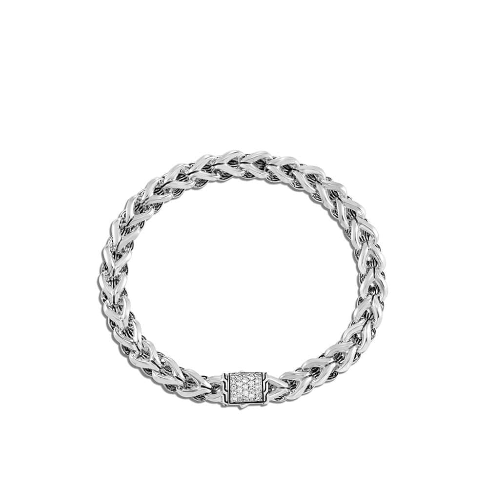Asli Classic Chain Link 7MM Bracelet in Silver with Diamonds by John Hardy