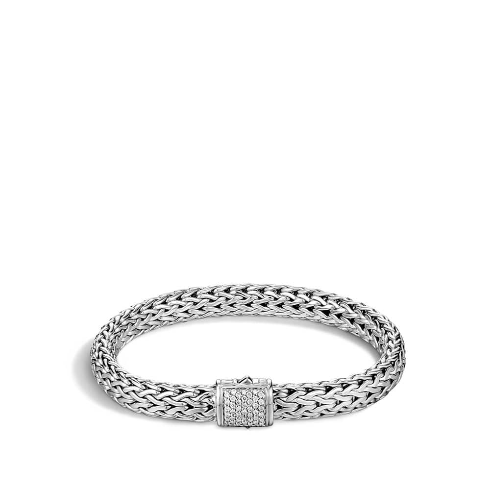 Classic Chain 7.5MM Bracelet in Silver with Diamonds by John Hardy