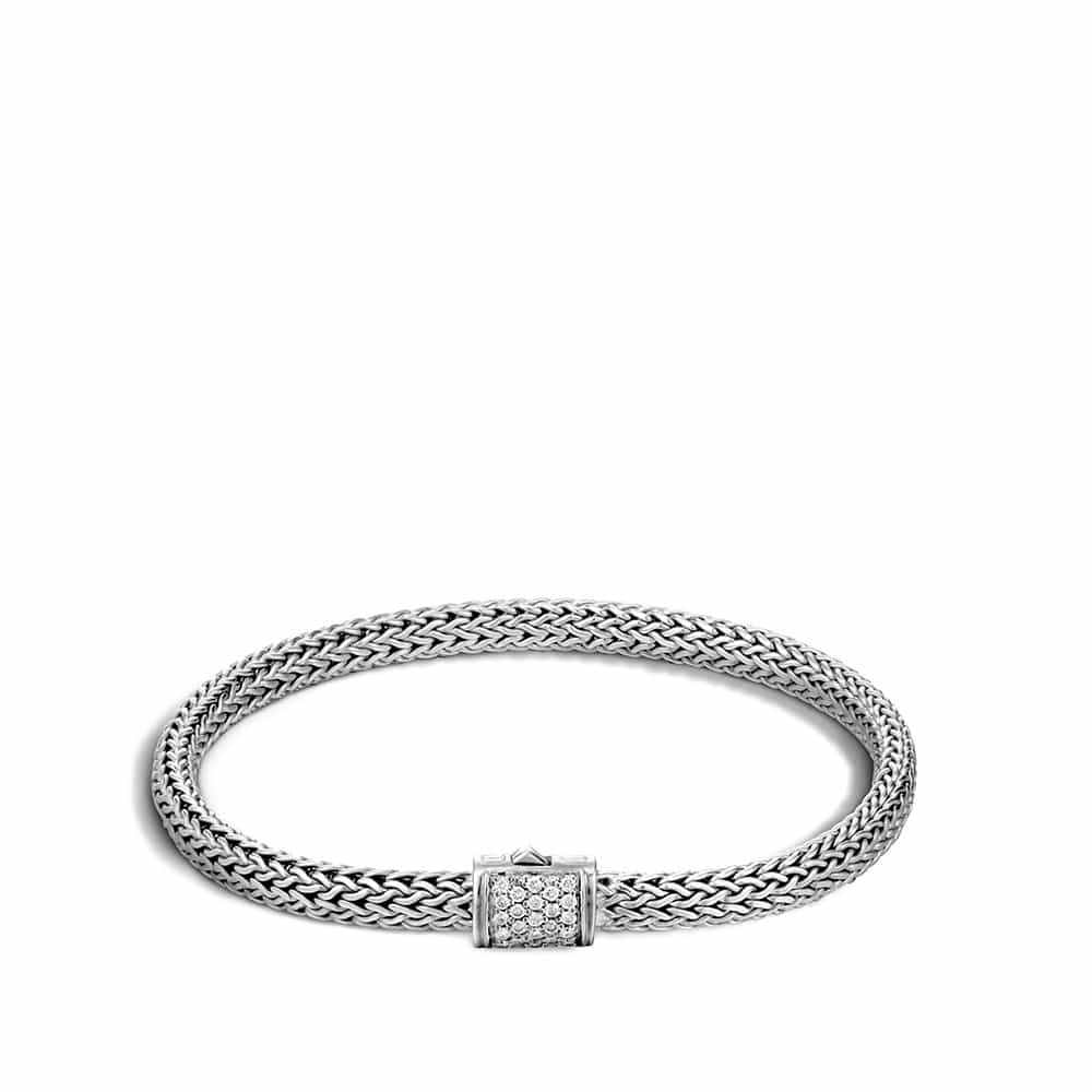 Classic Chain 5MM Bracelet in Silver with Diamonds by John Hardy