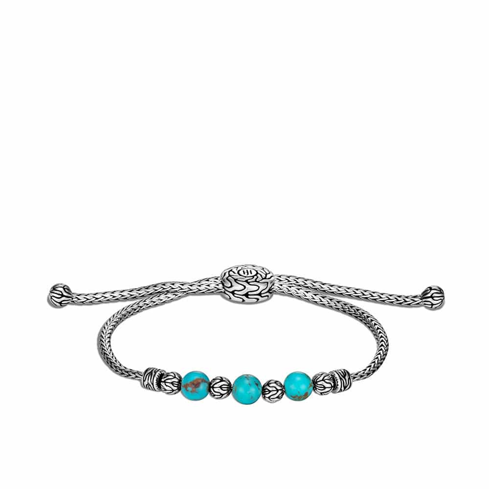 Classic Chain Pull Through Bracelet in Silver with Gemstone by John Hardy