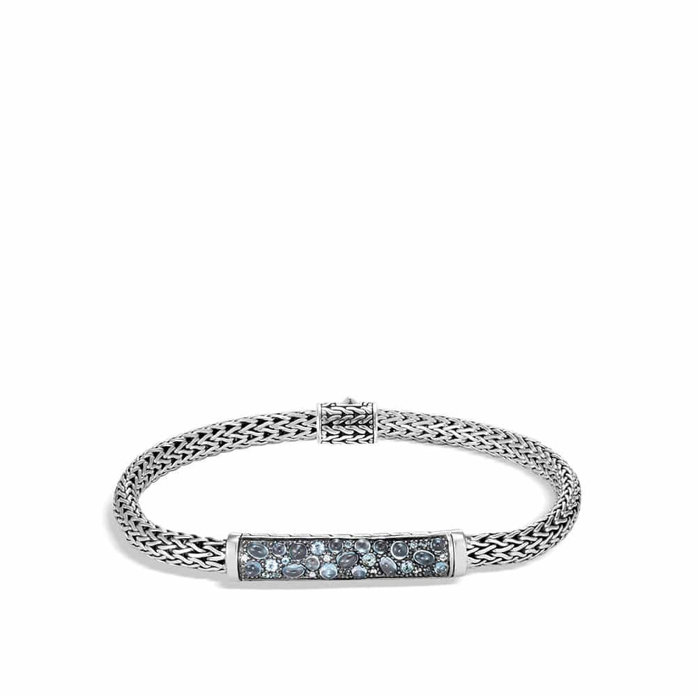 Classic Chain Station Bracelet with Mixed Blue