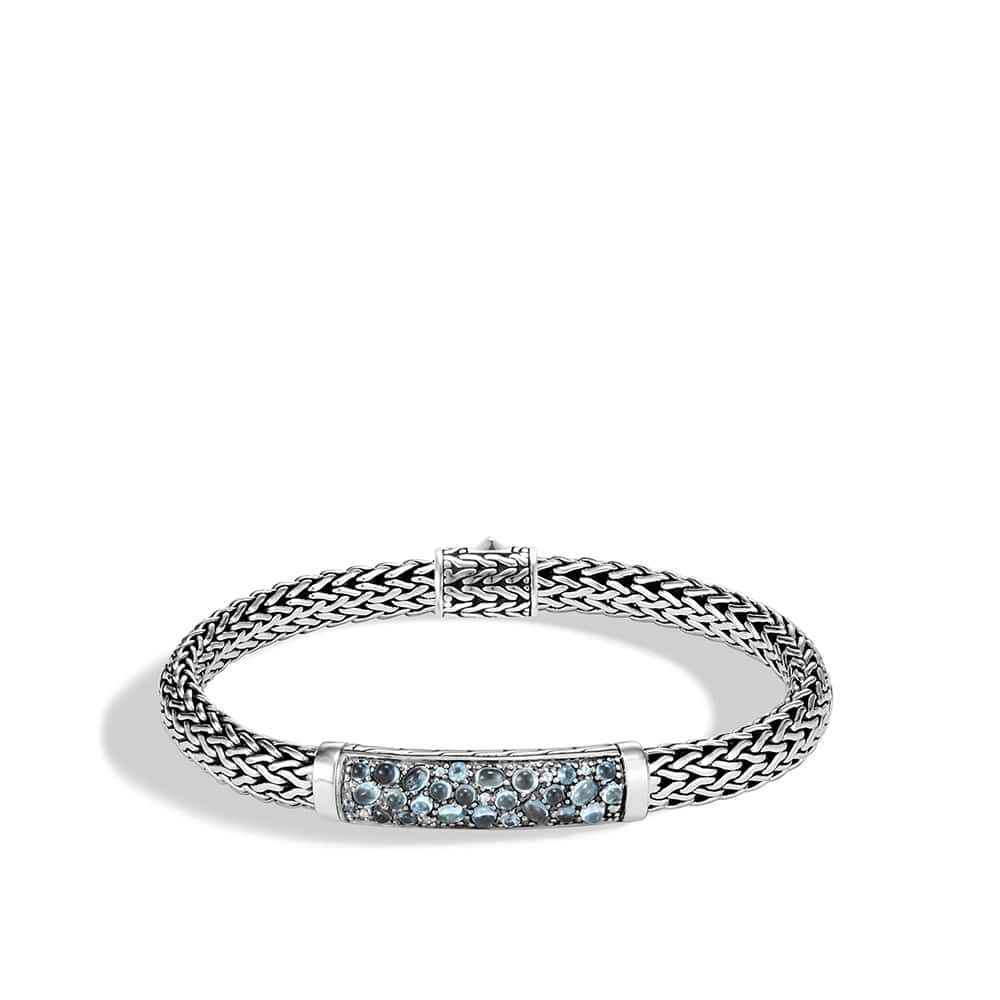 Classic Chain 6.5MM Station Bracelet in Silver with Gemstone by John Hardy