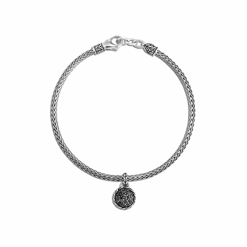 Classic Chain Heart Charm Bracelet Black Sapphire and Spinel