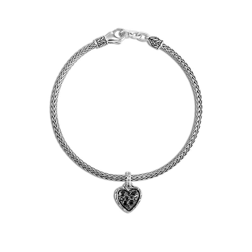 Classic Chain Heart Charm Bracelet in Silver with Gemstone by John Hardy