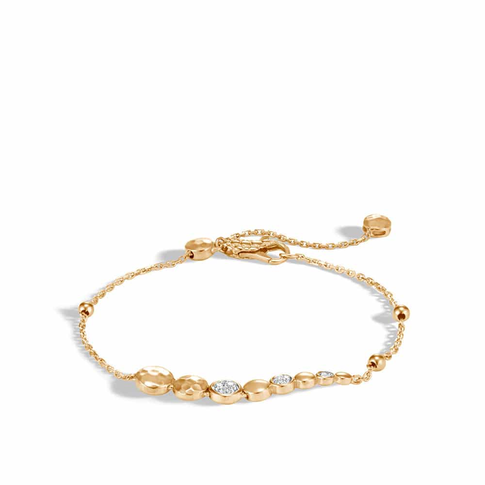 Dot Pull Through Bracelet in Hammered 18K Gold with Diamonds By John Hardy
