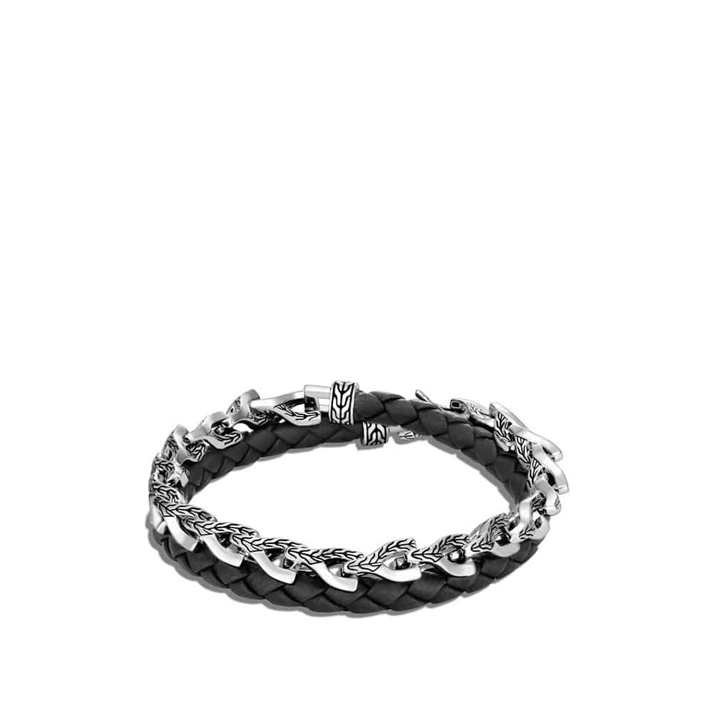 Asli Classic Chain Link Double Wrap Bracelet, Silver, Leather By John Hardy