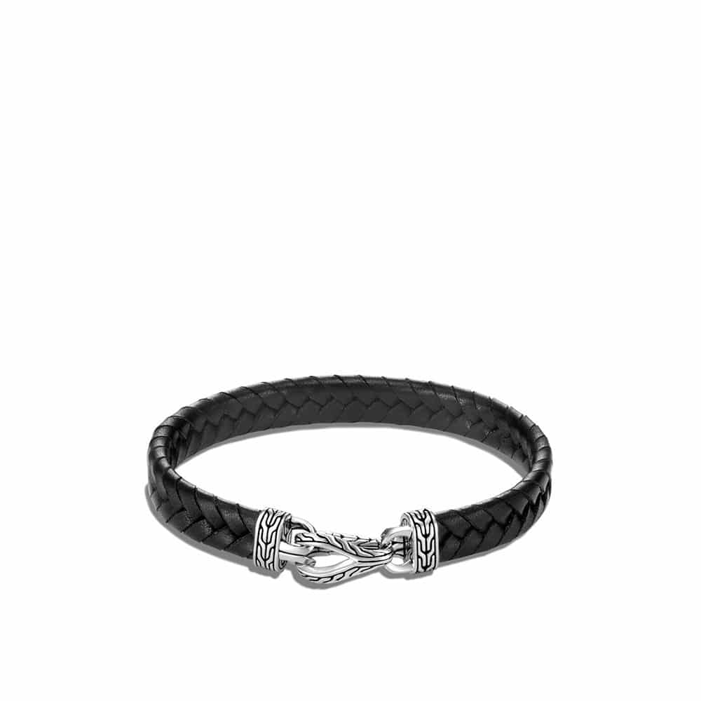 Asli Classic Chain Link 9MM Station Bracelet, in Silver, Leather By John Hardy