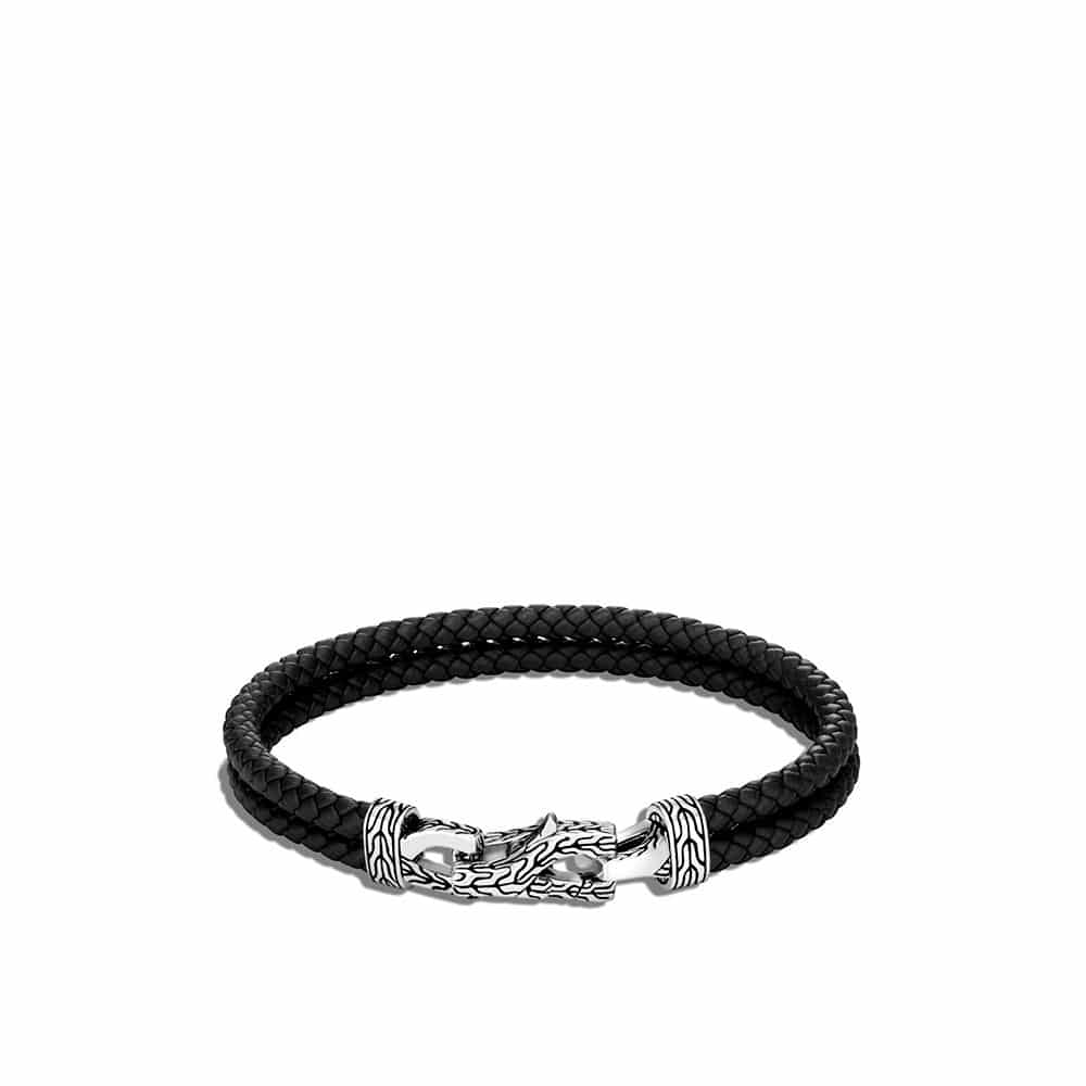Asli Classic Chain Link 8MM Station Bracelet, in Silver, Leather By John Hardy