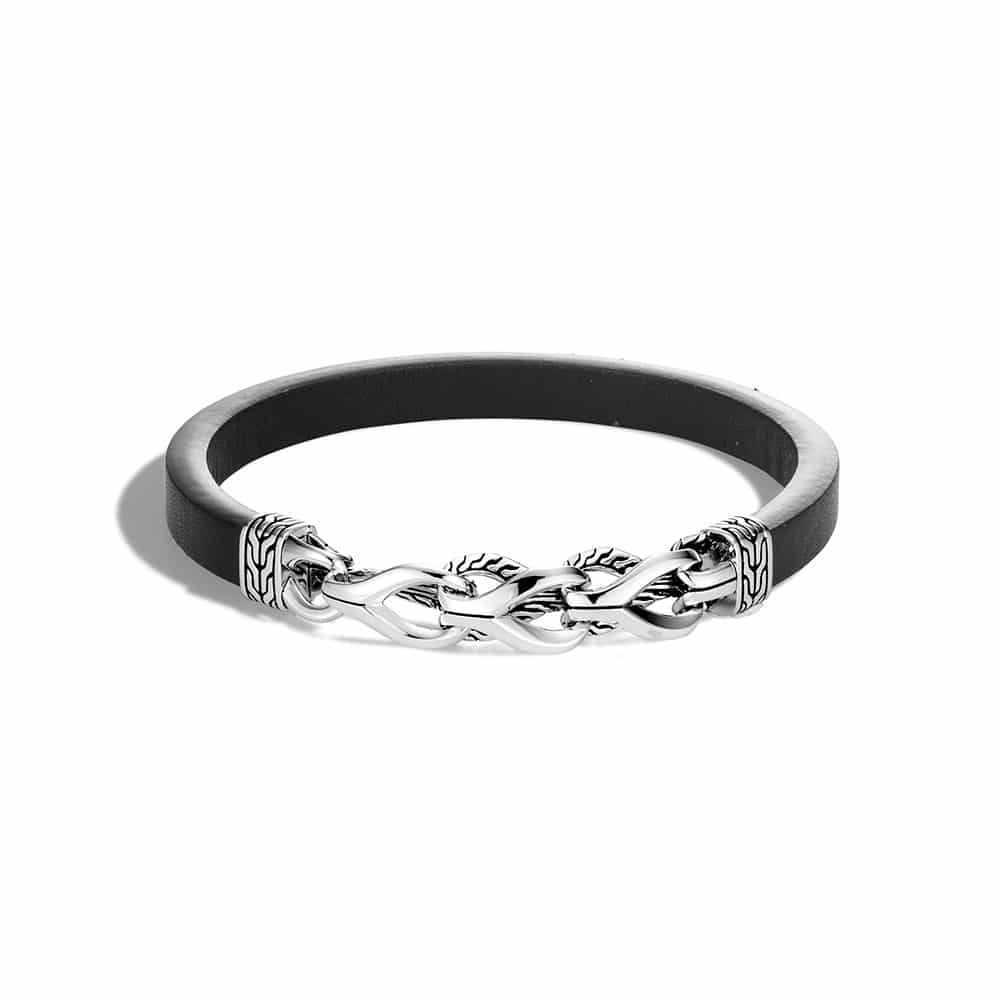 Asli Classic Chain Link Station 7MM Bracelet, Silver, Leather By John Hardy