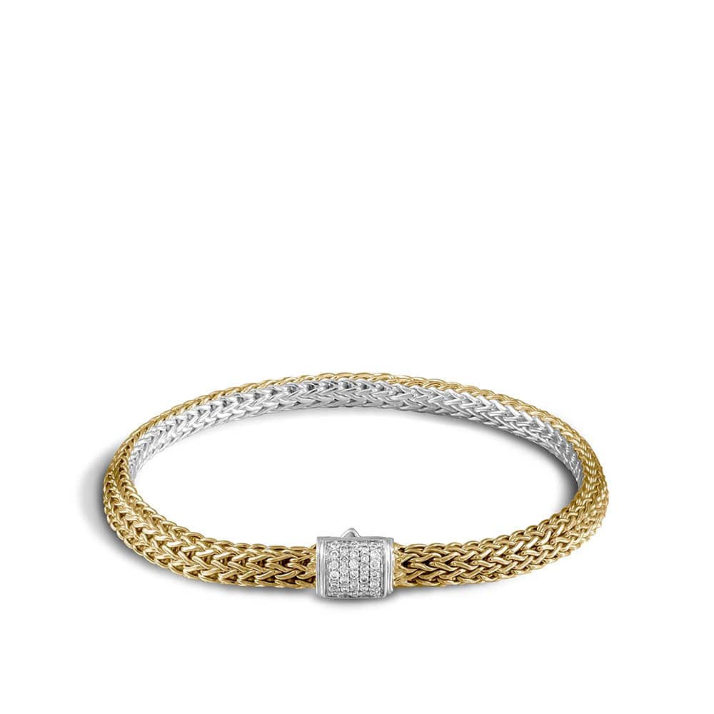 Classic Chain 5MM Reversible Bracelet, Silver, 18K, Diamonds By John Hardy