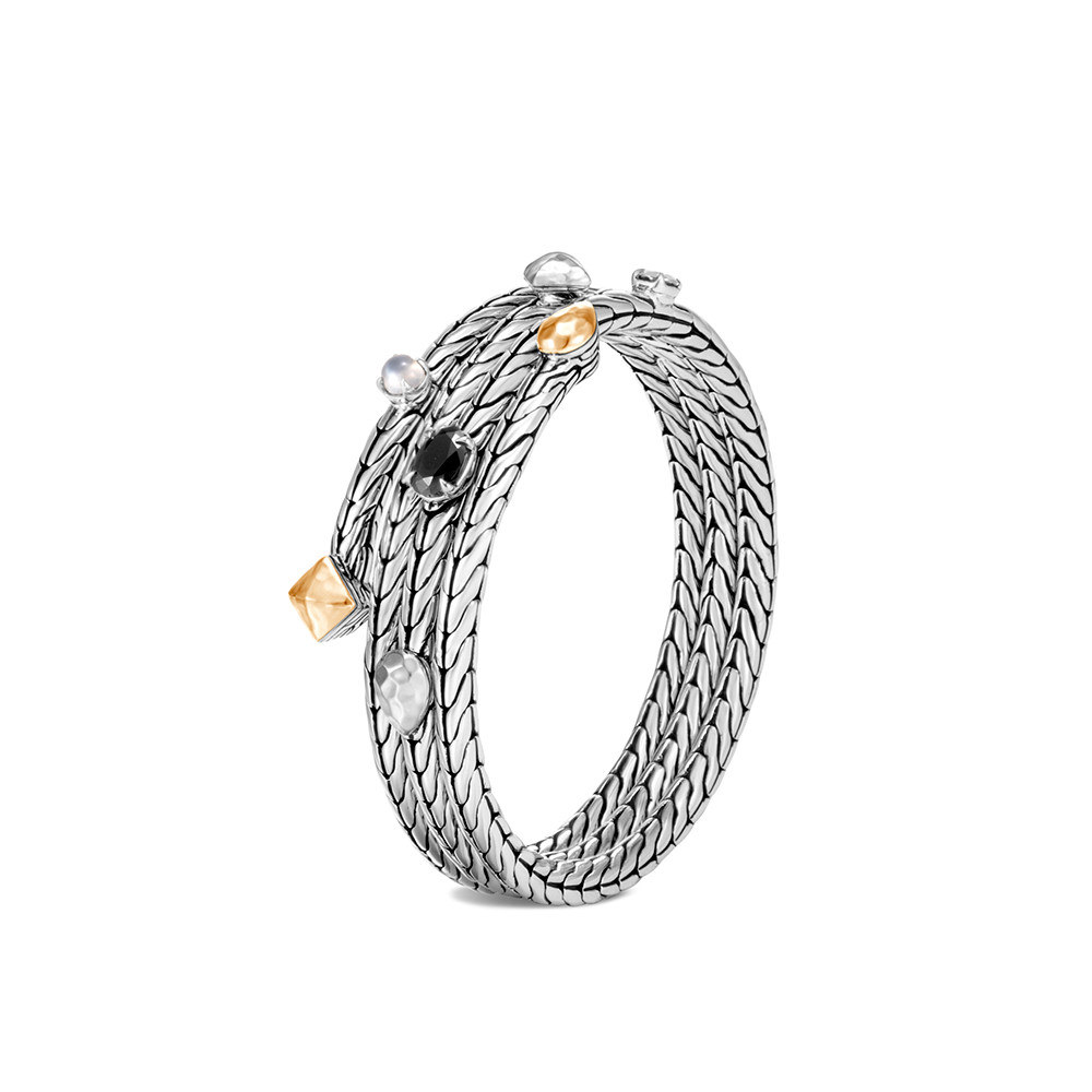 Classic Chain Coil Bracelet, Silver, Hammered 18K Gold, Gem By John Hardy
