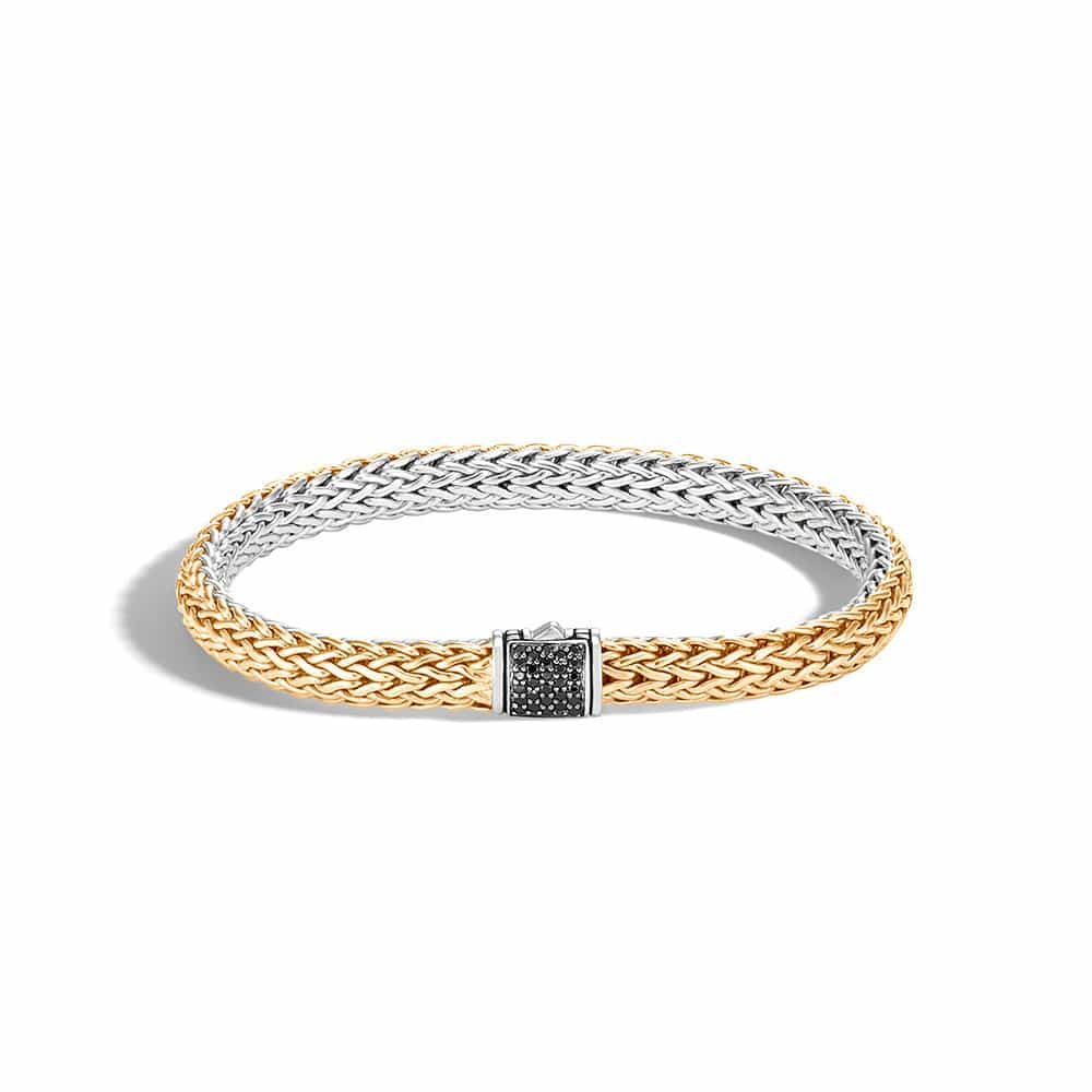 6.5MM Reversible Bracelet in Silver and 18K Gold with Gemstone By John Hardy